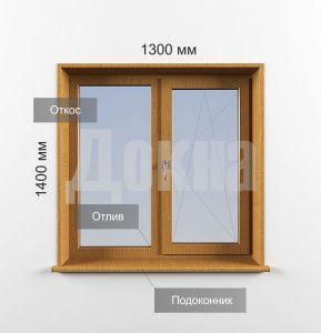 Ламинированные двухстворчатые окна Rehau